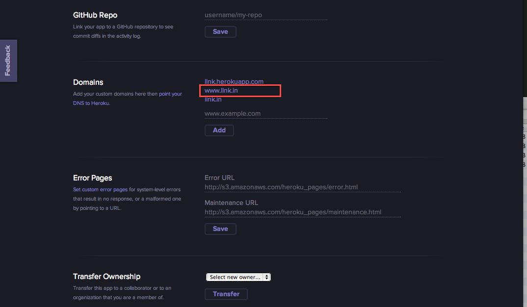 Heroku domain settings
