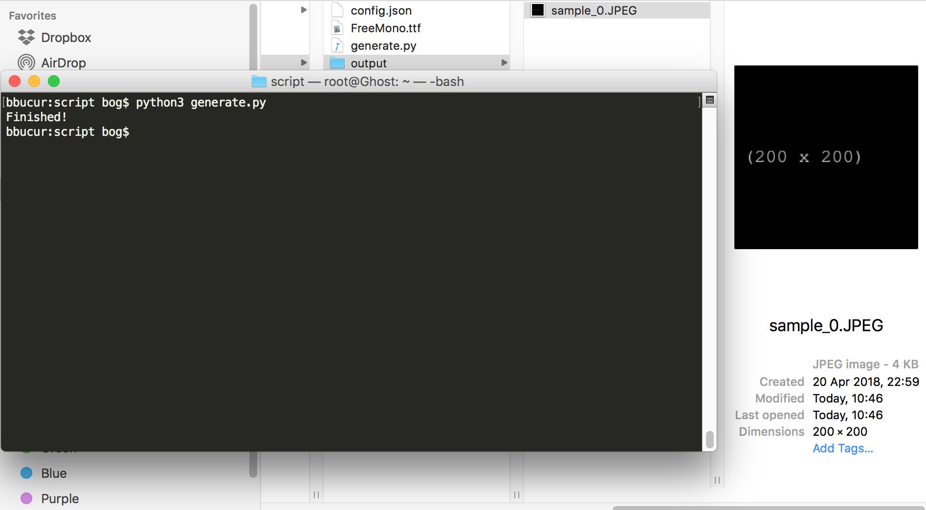 "running ""Py Image Generator"" script"