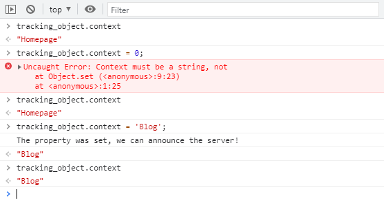 Console log results for checking the watched property